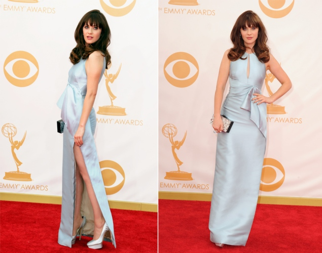 Zooey Deschanel wearing J. Mendel
