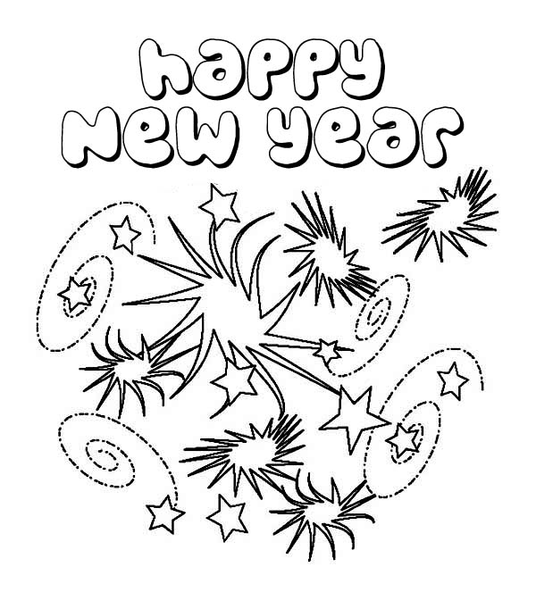 new years eve  lots of fireworks coloring page