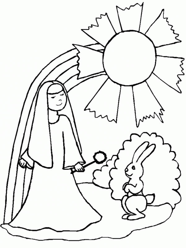 A Nun A Rabbit And A Rainbow Coloring Page Download