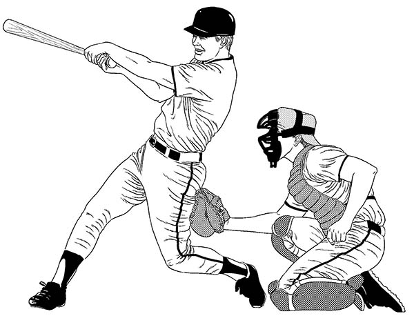 Baseball Player Hitting A Homerun Coloring Page Download