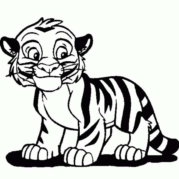 coloring page cute tiger cub in cartoon coloring pagefull size image