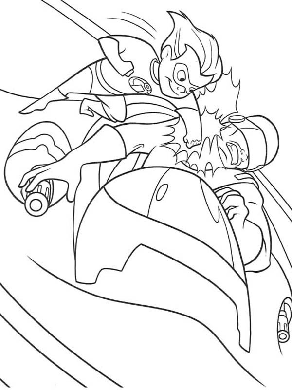 Dash Punching Enemy In The Incredibles Coloring Page