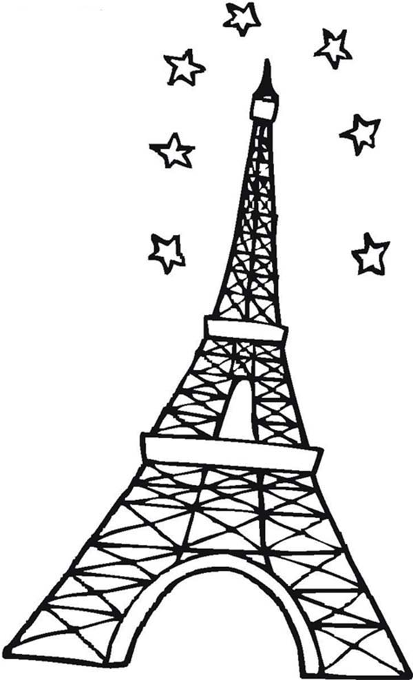 Eiffel Tower And Stars In The Sky Coloring Page Download Print Online Coloring Pages For Free Color Nimbus