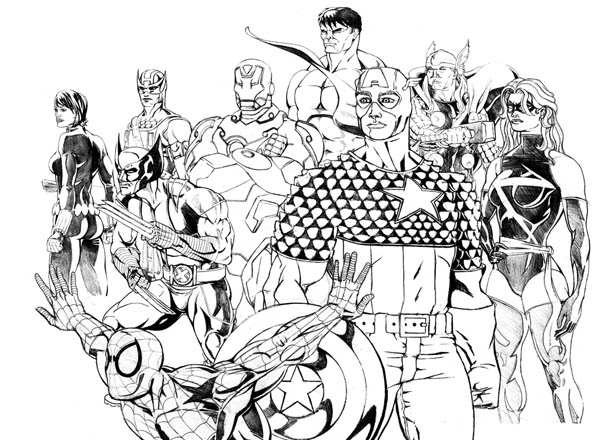 The Avengers And Wolverine Coloring Page Download