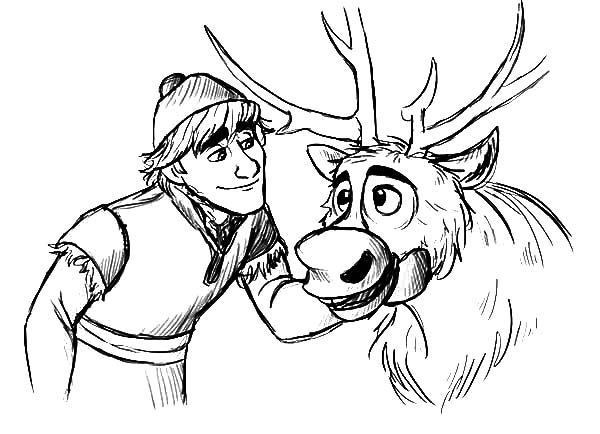 Kristoff Teasing Sven Coloring Pages Download Amp Print