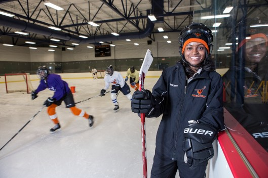 Detroit's Tarasai Karega shares her hockey knowledge with kids in Philadelphia.