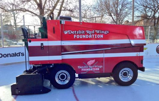 No more resurfacing hassles for Detroit's Clark Park with this new Zamboni from the NHL and Red Wings Foundation.