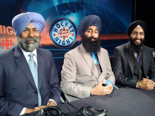 HNIC Punjabi's crew. Left to right: Analyst Bhola Singh Chauhan, analyst Inderpreet Cumo and play-by-play man Harnarayan Singh.