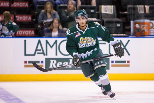Tyler Sandhu in action. (Photo: Christopher Mast/Everett Silvertips)