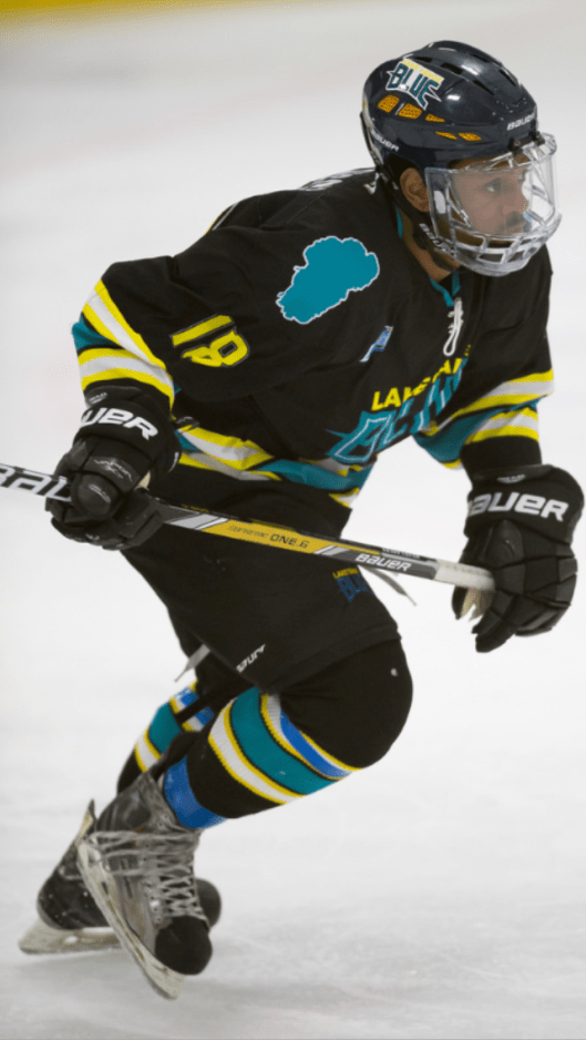 Robinson, skating for Lake Tahoe Blue, has been on a multi-city, multi-league hockey journey.