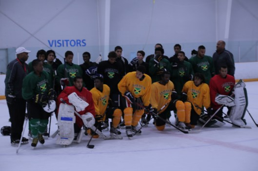 And so it begins. Participants in Jamaica's first-ever ice hockey effort pose for history.