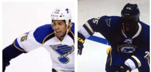 The real Ryan Reaves, left, and EA Sports' digital version of the rugged right wing.