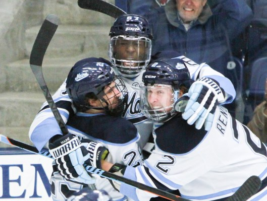 Recruited as a defenseman, Malcolm Hayes adds scoring punch for Maine as left wing.