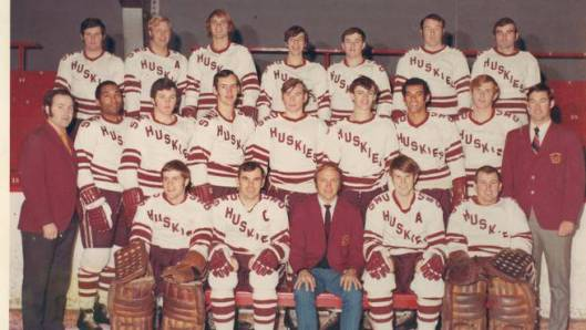 The 1970 St. Mary's University Huskies. Bob Dawson (second from left, middle row) and Darrell Maxwell (third from right, middle row).  Percy Paris not in photo. Head Coach Bob Boucher, front row, center.