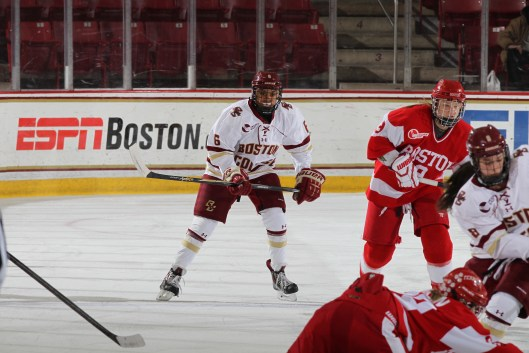 Boston College's Kaliya Johnson against arch-rival Boston University.