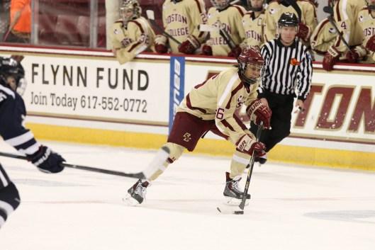Boston College's Kaliya Johnson takes flight on the ice.