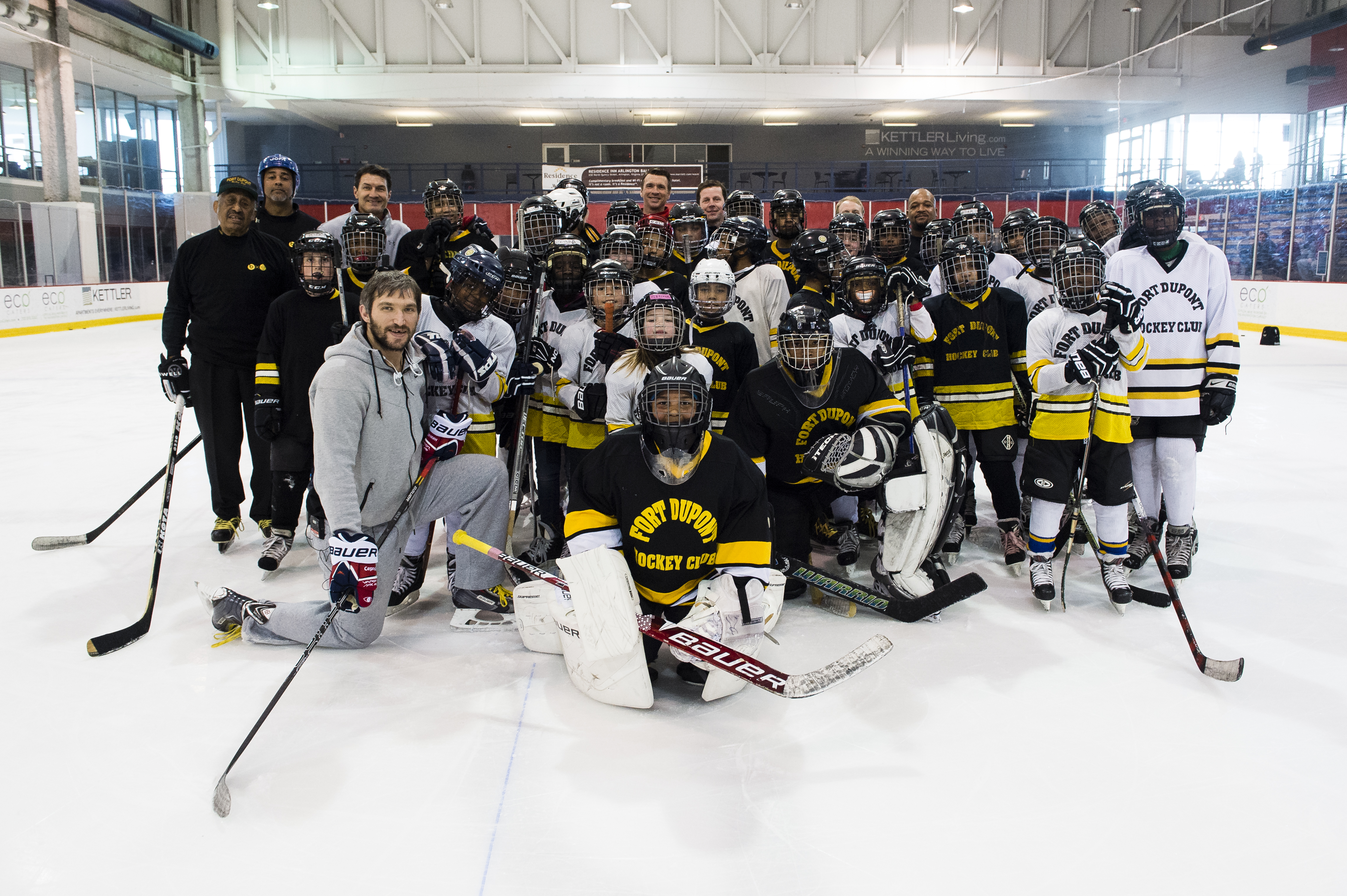 36c42ba3b7b Thirty-five players from the Fort Dupont Ice Hockey Club hang with Capitals  captain Alex