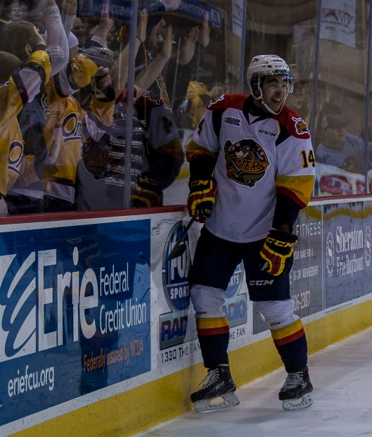 Nick Baptiste's performance in the OHL playoffs brought Erie Otters fans to their feet (Matt Mead/Matt Mead Photography).