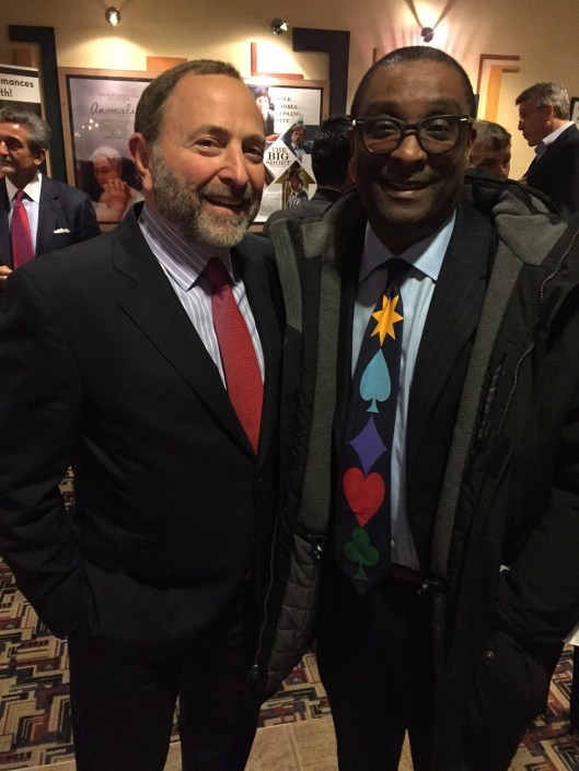 "Color of Hockey Editor William Douglas with The Bearded One - NHL Commissioner Gary Bettman at ""Soul on Ice, Past, Present and Future"" screening in Washington, D.C."