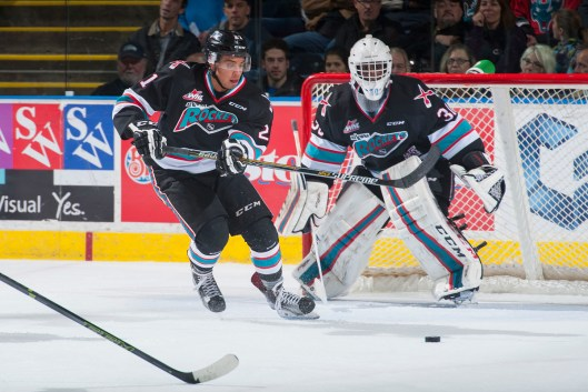 Kelowna Rockets defenseman Devante Stephens hopes to be part of the Buffalo Sabres rebuilding process after the team drafted him in 2015 (Photo by Marissa Baecker/Kelowna Rockets).