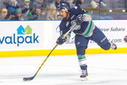 Forward Keegan Kolesar's return to the Seattle Thunderbirds after the 2015 NHL Draft spelled bad news for Western Hockey League goalies (Photo/Brian Liesse/Seattle Thunderbirds.)