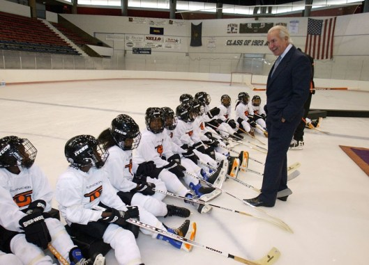 Ed Snider talks with members of the Ed Snider Youth Hockey Foundation in October 2005. Snider passed away Monday at age 83.
