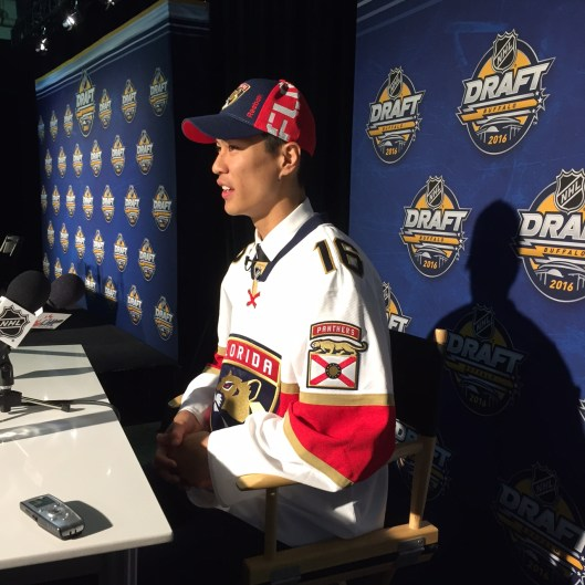Jonathan Ang meets the press after being drafted by the Florida Panthers.