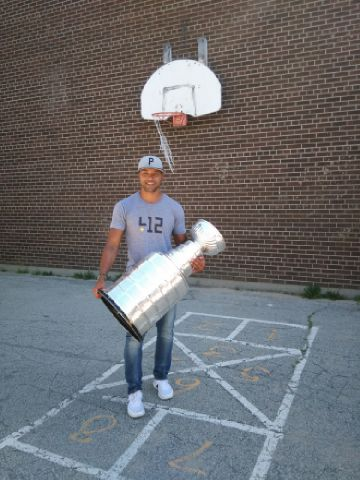 Trevor Daley introduced the Stanley Cup to his old neighborhood playground (Photo/Phil Pritchard/Hockey Hall of Fame).