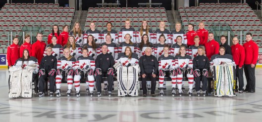 Canada's 2016 Under-18 women's team faces the United States in a three-game series in Calgary. Defenseman Avery Mitchell is the fifth person from the left, back row.