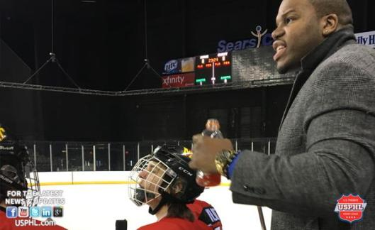 Motor City Hawks Head Coach/Co-Owner Jason McCrimmon working the bench during a USPHL's game.