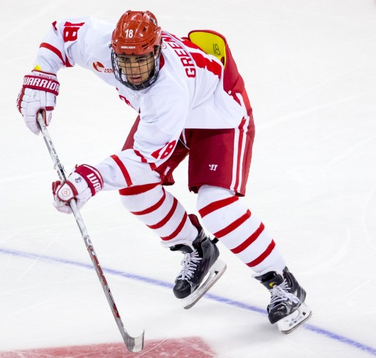 Boston University sophomore Jordan Greenway is second on the Terriers in scoring (Photo/Richard T. Gagnon)