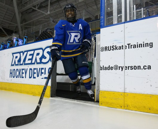 Kryshanda Green is thrilled to be playing hockey again after a lengthy layoff (Photo by Alex D'Addese/ Ryerson Rams Athletics)