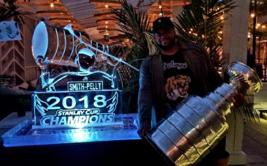 0228b685c47 Washington Capitals forward Devante Smith-Pelly and an ice sculpture  likeness of him with Stanley Cup (Photo Courtesy Phil Prtichard HHOF).