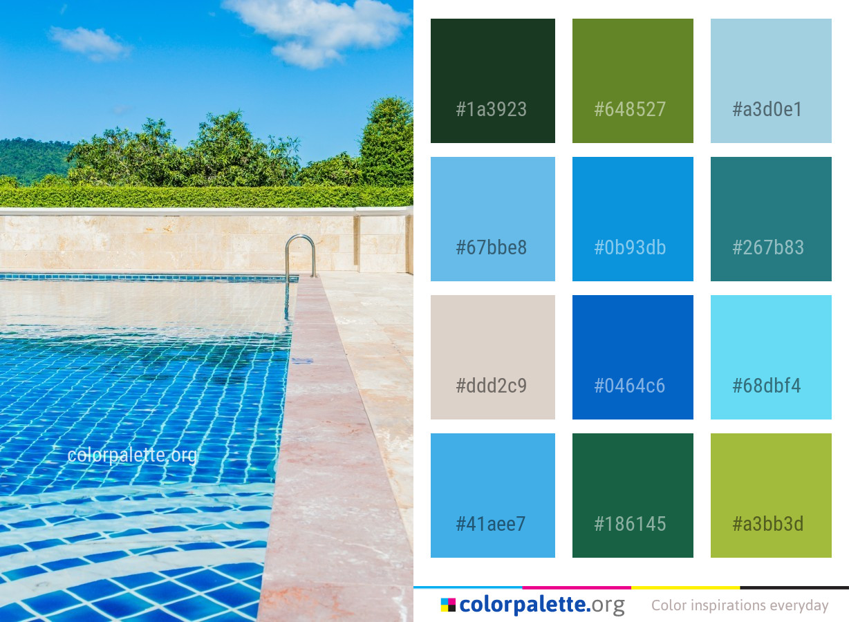 Swimming Pool Water Property Color Palette | colorpalette.org