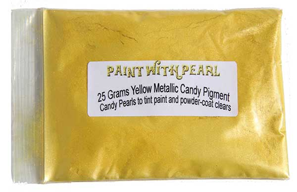 25 Gram Bag of Yellow Metallic Candy Paint Pearls.