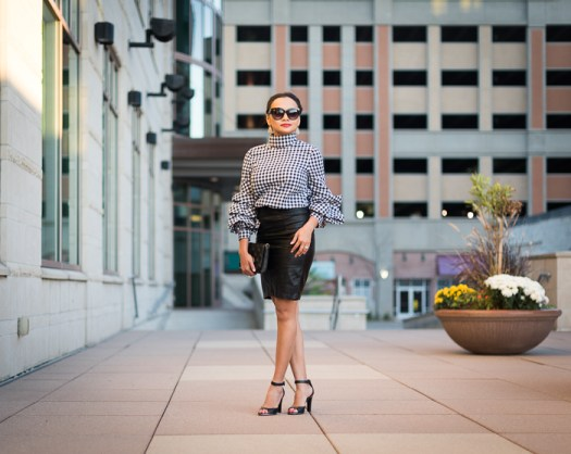 green bay, downtown, citydeck, city deck, fashion blogger, wisconsin blogger, milwaukee blogger, fashion outfit ideas, gingham pattern, gingham outfit ideas, office outfit ideas, leather skirt
