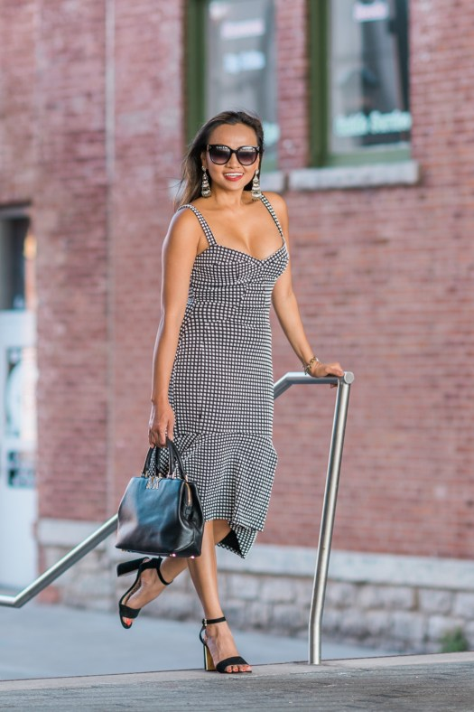 colors of mei, colors of mei, gingham style print, gingham print, gingham dress, formal dress, street style dress, downtown green bay, wisconsin blogger, milwaukee blogger, downtown, blog style, michael kors purse, black purse, fashion blogger, fashion ideas, dress ideas, formal dress ideas