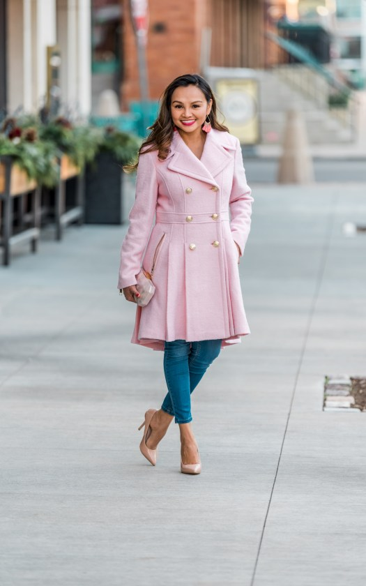 colors of mei, mei, milwaukee fashion blogger, milwaukee lifestyle blogger, third ward milwaukee, downtown milwaukee fashion, guess jacket, fashion blogger, brian mattinson photography, pink coat, cute winter coat, women's peacoat, colorful peacoat ideas, pink coat, fashionable warm women's coat