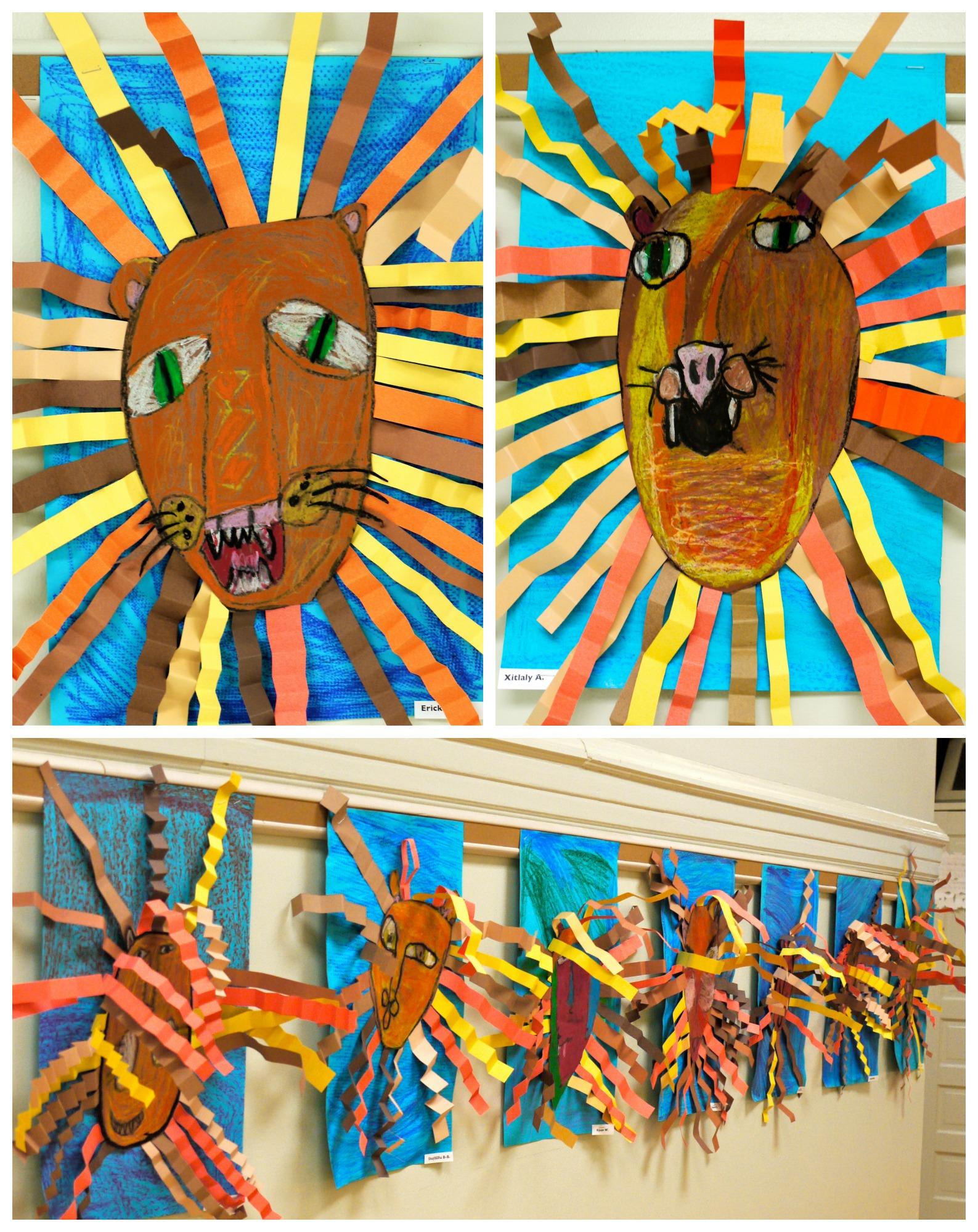 1st Grade Oil Pastel Lion Collages