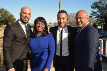 SELMA, AL - JANUARY 18: EDITORIAL USE ONLY- Common, Congresswoman Terri Sewell, John Legend, Paul Garnes attend the Selma High School Q&A event on January 18, 2015 in Selma, Alabama. (Photo by Rick Diamond/Getty Images for Paramount Pictures) *** Local Caption *** Common; Terri Sewell; John Legend; Paul Garnes