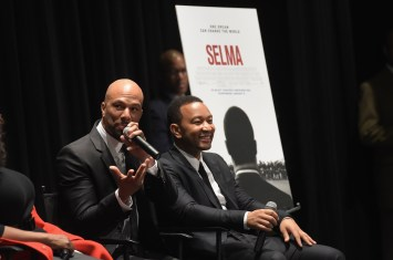 SELMA, AL - JANUARY 18: EDITORIAL USE ONLY- Musicians Common and John Legend address the audience at the Selma High School Q&A event on January 18, 2015 in Selma, Alabama. (Photo by Rick Diamond/Getty Images for Paramount Pictures) *** Local Caption *** Common; John Legend