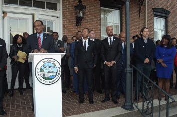 SELMA, AL - JANUARY 18: EDITORIAL USE ONLY Mayor George Evans, John Legend, Common, Jeremy Kleiner, and Congresswoman Terri Sewell attend special ceremony at Selma City Hall with Selma Mayor George Evans on January 18, 2015 in Selma, Alabama. (Photo by Rick Diamond/Getty Images for Paramount Pictures) *** Local Caption *** George Evans; John Legend; Common; Jeremy Kleiner; Terri Sewell