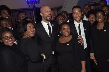 SELMA, AL - JANUARY 18: EDITORIAL USE ONLY Common and John Legend join the Tuskegee University Choir during a commemorative march to the Edmund Pettus Bridge on January 18, 2015 in Selma, Alabama. (Photo by Rick Diamond/Getty Images for Paramount Pictures) *** Local Caption *** John Legend; Common