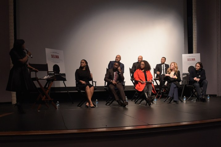 SELMA, AL - JANUARY 18: EDITORIAL USE ONLY- (L-R BR) Paul Garnes, Common, John Legend (L-R FR) Ava DuVernay, David Oyelowo, Oprah Winfrey, Dede Gardner, and Jeremy Kleiner address the audience during a special Q&A at Selma High School, moderated by Congresswoman Terri Sewell on January 18, 2015 in Selma, Alabama. (Photo by Rick Diamond/Getty Images for Paramount Pictures) *** Local Caption *** Ava DuVernay; David Oyelowo; Oprah Winfrey; Dede Gardner; Jeremy Kleiner; Paul Garnes; Common; John Legend