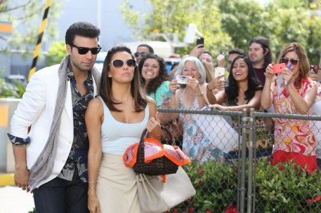 TELENOVELA -- Pilot -- Pictured: (l-r) Jencarlos Canela as Xavier Antonio Castillo, Eva Longoria as Ana Sofia Calderon -- (Photo by: Jordin Althaus/NBC)