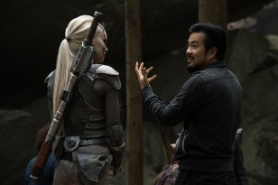 Left to right: Sofia Boutella and Director Justin Lin on the set of Star Trek Beyond from Paramount Pictures, Skydance, Bad Robot, Sneaky Shark and Perfect Storm Entertainment