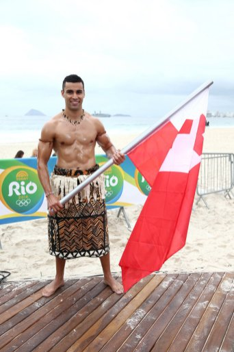 "TODAY -- Pictured: Tongan flag bearer Pita Taufatofua appears on NBC's ""TODAY"" show at the Rio Olympics on Monday, August 8, 2016 -- (Photo by: Joe Scarnici/NBC)"