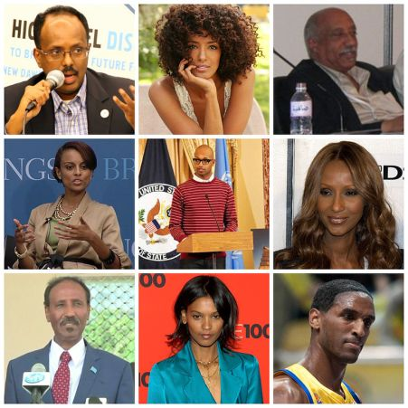 Collage of prominent Horn Africans in the United States. First row, from left: Mohamed Abdullahi Mohamed Ella Thomas Mulatu Astatke Second row, from left: Semhar Araia Kenna Iman Third row, from left: Abdirahman Duale Beyle Liya Kebede Thomas Kelati (Middayexpress/Creative Commons*)
