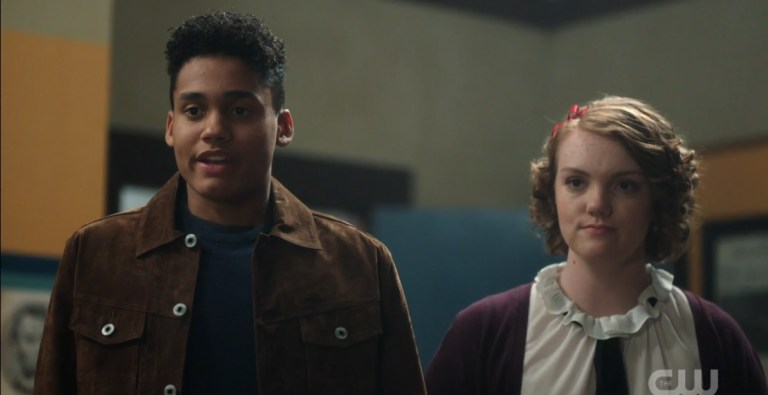 Trev (Adain Bradley) and Ethel (Shannon Purser) speak to Betty about the elusive slut-shaming book circling around the Riverdale High football team. (CW/Screengrab)
