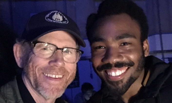 Ron Howard and Donald Glover on the set of Solo: A Star Wars Story